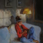 Lynn Sanguedolce, The Texter, oil figure painting