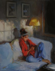 Lynn Sanguedolce, The Texter, oil, 14 x 11.