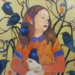 Mary Alayne Thomas, Sister of the Enchanted Ravens, watercolor/encaustic, 12 x 12.