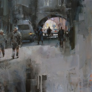 Tibor Nagy, Under the Arches, oil, 16 x 16.