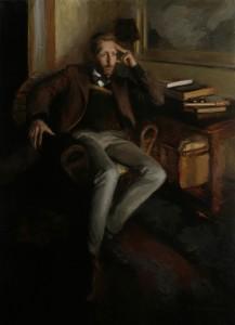 Lynn Sanguedolce, Tom Poyner in the Studio, oil figure painting