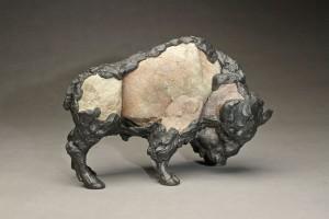 Pete Zaluzec | Toro, river stone/bronze, 13 x 8 x 6.