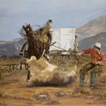 Cathy Trachok, Sagebrush and Saddlebroncs, oil, 30 x 40.