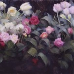 Nancy Guzik, Tulips and Roses, oil, 24 x 30.