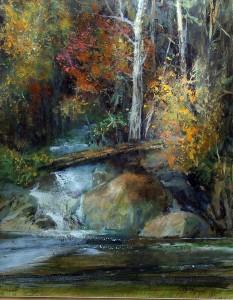 Gil Dellinger, Autumn Near Tuolumne, acrylic, 20 x 16.