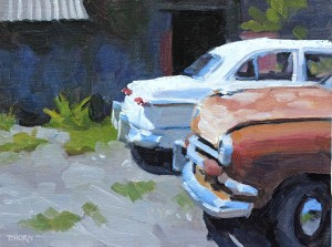Tim Horn, Two Fords, oil, 9 x 12.