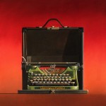 Wendy Chidester, Underwood Portable on Red, oil, 27 x 27.
