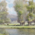Karen Vance, In the Cool Beneath the Cottonwoods, oil, 17 x 32.