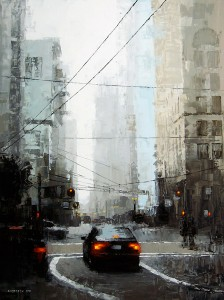 David Cheifetz, Veiled District, oil, 24 x 18.