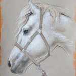 Olga & Aleksey Ivanov, White horse drawing on toned paper, silver leaf, 15 x 11