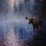 Ewoud de Groot, Wading Moose, oil, 48 x 48.