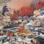 Mary Ann Warner, Rio Pueblo Cascading Pools, oil, 14 x 18.