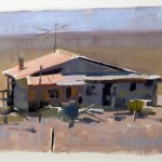 Kevin Weckbach, Pink Roof, oil, 8 x 10.