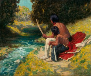 Eanger Irving Couse, The River Bank, oil, 20 x 24.