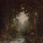 Thomas Hill, Trout Fishing, oil, 34 x 27.