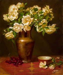 Elizabeth Robbins, White Roses in Copper with Cup, oil, 24 x 20.