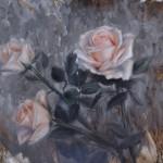 Derek Harrison, White Rose Trio, oil, 10 x 12.
