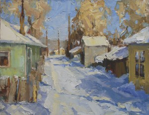 Winter Alley, oil, 11 x 14.