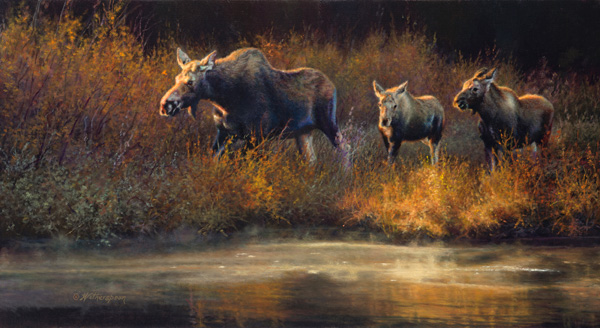 Kay Witherspoon, Moose Creek Drifters, oil, 12 x 22.