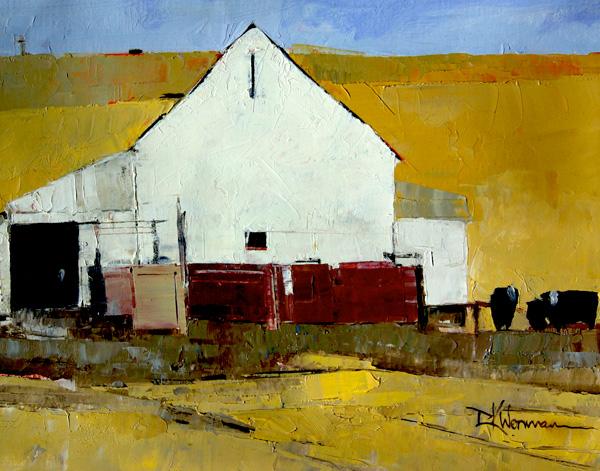 Dinah Worman, Cows and Barn, oil, 11 x 14.