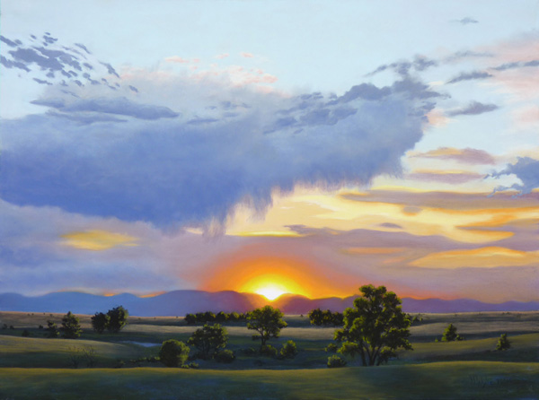 Nancy Wylie, Sanctuary Sunset, pastel, 18 x 24.