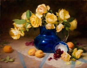 Yellow Roses with Blue, oil, 16 x 20.