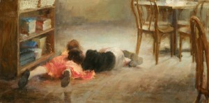 Yen-Ching Chang, Not a Care in the World, oil, 15 x 30.