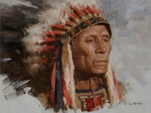 Z.S. Liang, Lakota Holy Man, oil, 12 x 16.