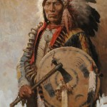 Z.S. Liang, Lakota War Chief, oil, 36 x 24.