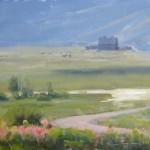 Dave Santillanes, Bush Creek Morning, oil, 9 x 12.