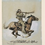 Frederic Remington, Buffalo Hunter Spitting a Bullet Into a Gun, 1892, ink wash/watercolor, 29 x 25 x 1.