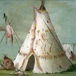 George Catlin, Crow Lodge of Twenty-Five Buffalo Skins, oil, 24 x 29.