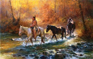 Jim C. Norton, Chief Santaquins War Horses, oil, 20 x 31.