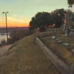 Daniel Robbins, Cemetery Overlook, oil, 16 x 27.