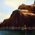 Cliffside, Lake Powell, watercolor, 10 x 24.