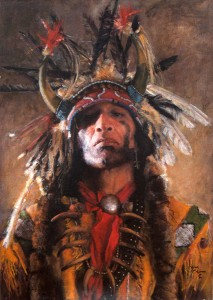 John Coleman, Holy Man of the Buffalo Nation, oil, 23 x 17.