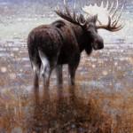 Ewoud de Groot, Wading Moose #4, oil, 51 x 43.