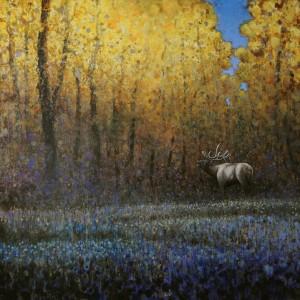 Ewoud de Groot, Autumn Elk, oil, 60 x 60.