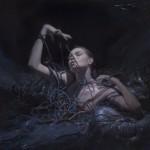 Casey Baugh, Engulfed, oil, 12 x 12.