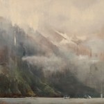 Jackson Lain, Fog Rolling In, oil, 36 x 36.