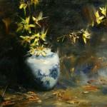 Ralph Grady James, Forsythia, oil, 9 x 12.