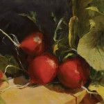 Ann Gargotto, Radishes, oil, 12 x 24.