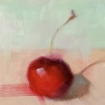 Cindy Haase, Cherry Solo, oil, 4 x 4.