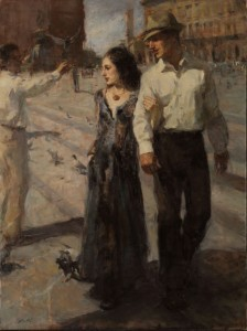 Ron Hicks, Plaza in Milan, oil, 40 x 30.