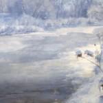 David Santillanes, January on the Poudre, oil, 24 x 48.