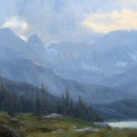 David Santillanes, Evening at Lake Isabelle, oil, 24 x 48.