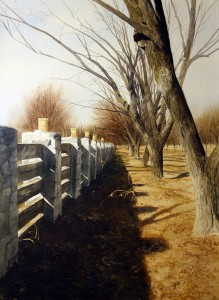 Luminarias and Pecan Trees, watercolor, 30 x 22.