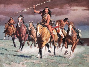 David Mann, Red Sky Warriors, oil, 36 x 48.