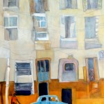 Peggy McGivern, Blue Car, mixed media, 24 x 18.
