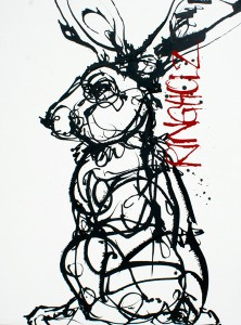 Amy Ringholz, Mechanical Rabbit, ink/oil, 48 x 36.